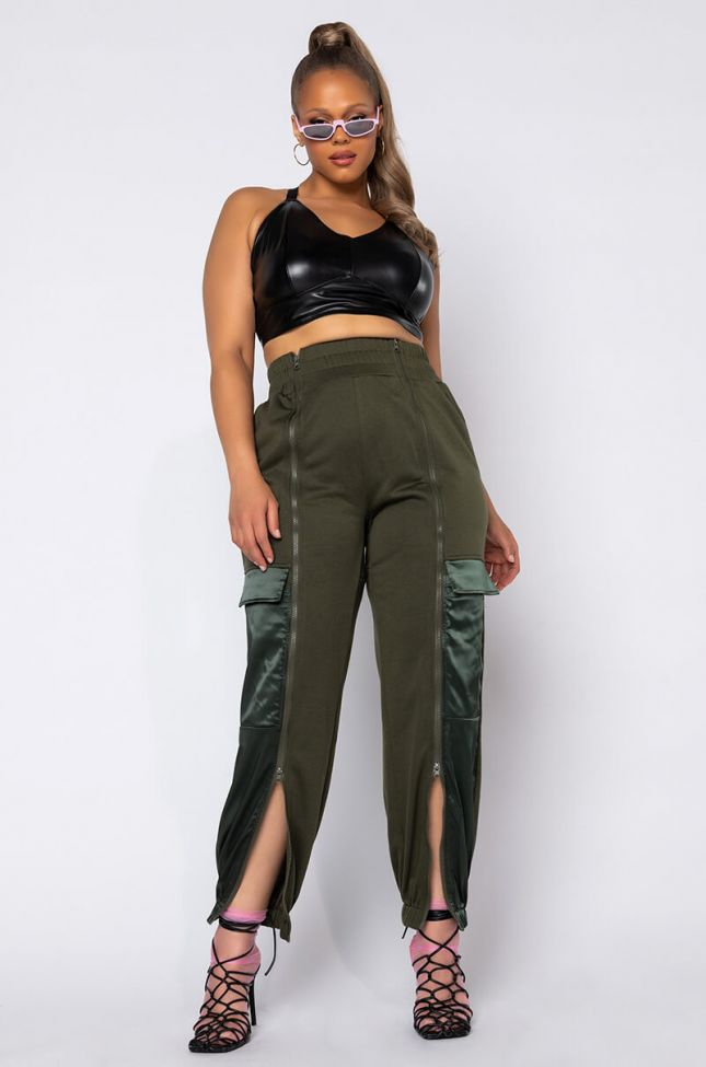 Full View Plus Size Call Me Later Zipper Jogger  in Olive