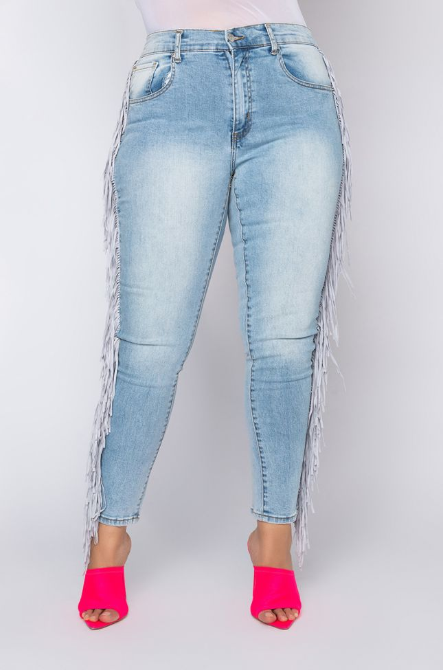 Front View Plus Size Coachella High Rise Fringe Skinny Jeans in Light Blue Denim