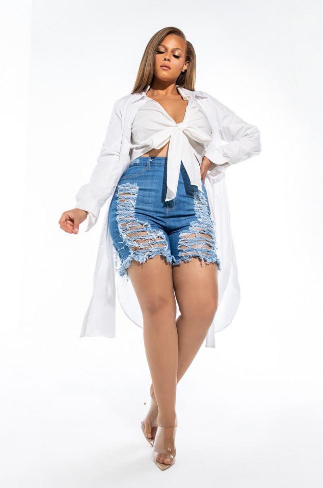 Extra View Plus Size Erie High Waisted Denim Shorts