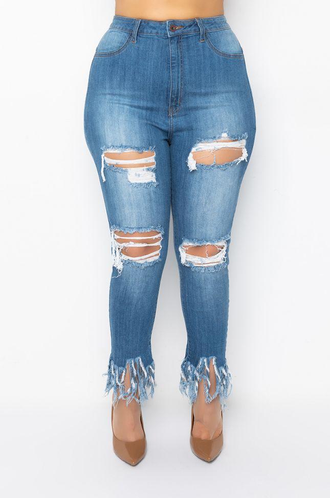 Front View Plus Size Fiesta High Rise Fringe Skinny Denim Pants