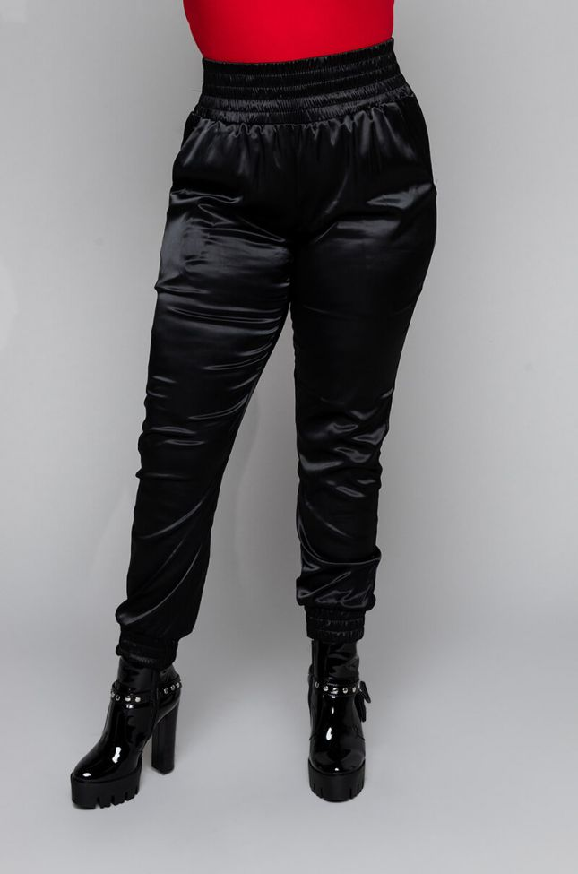 Front View Plus Size Kirsten High Waisted Fashion Pants in Black