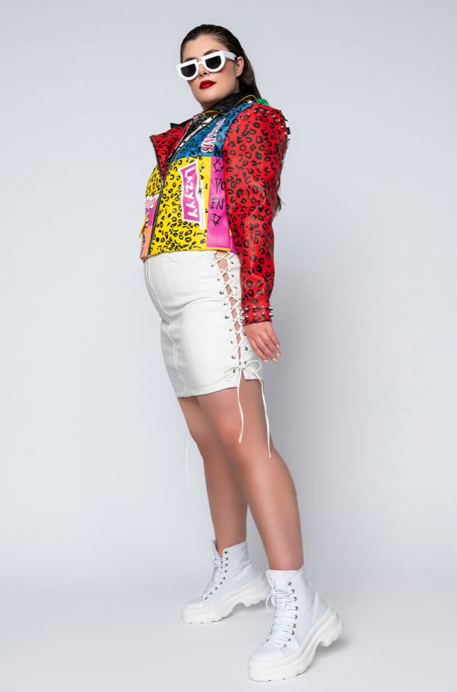 Full View Plus Size Lets Stay Together Pleather Lace Up Skirt Skinless in White