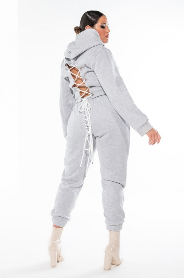 PLUS SIZE NOTHING TO LOOSE LACE UP SWEATPANTS