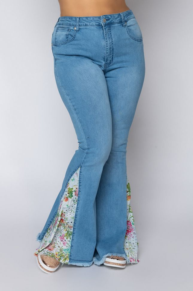 Front View Plus Size Spring Awakening High Waisted Flare Jeans in Light Blue Denim