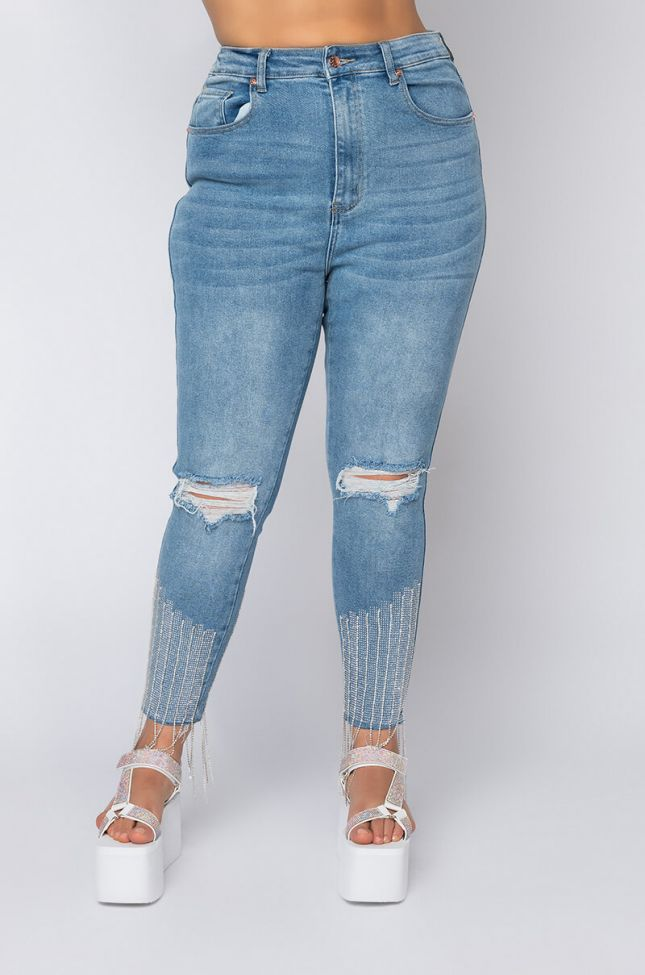 Front View Plus Size Too Good High Waisted Rhinestone Fringe Skinny Jeans in Medium Blue Denim
