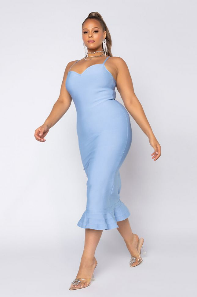 Front View Plus Smooth Moves Bandage Midi Dress in Light Blue