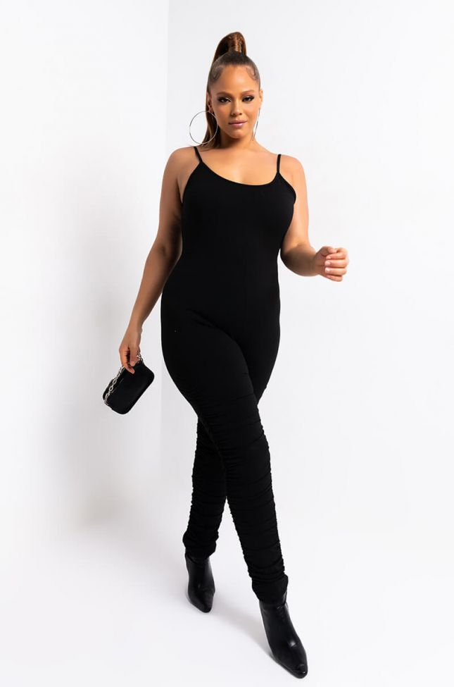 Front View Plus Snatched Stacked Leg Jumpsuit in Black