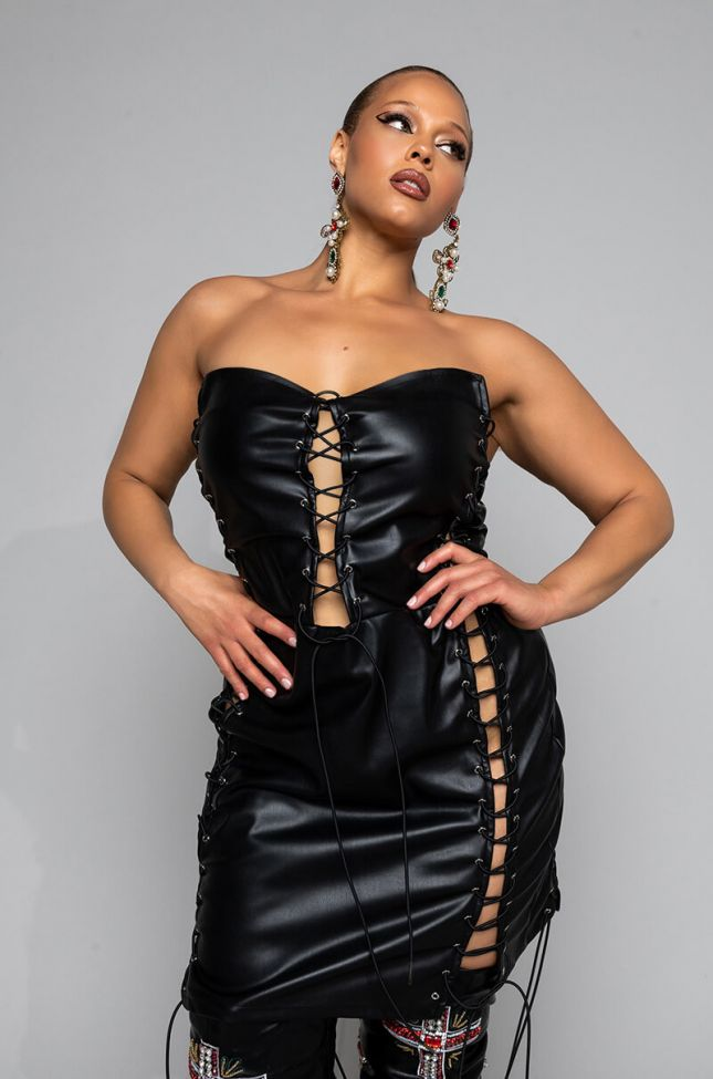 Front View Plus So I Creep, Faux Leather Lace Up Mini Dress in Black