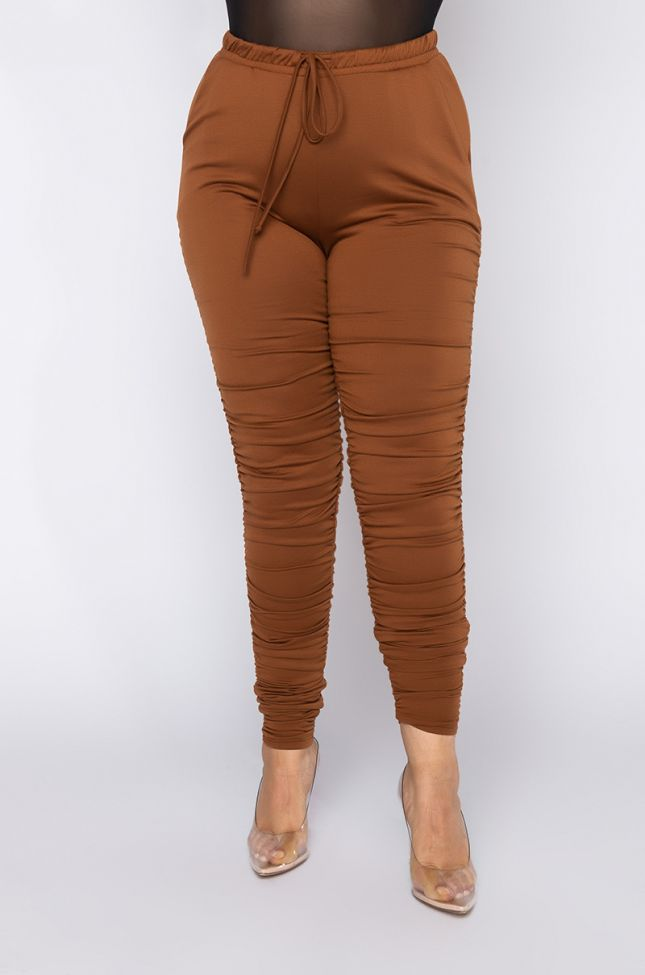 Front View Plus Sometimes Shes Boujie Stacked Jogger in Brown
