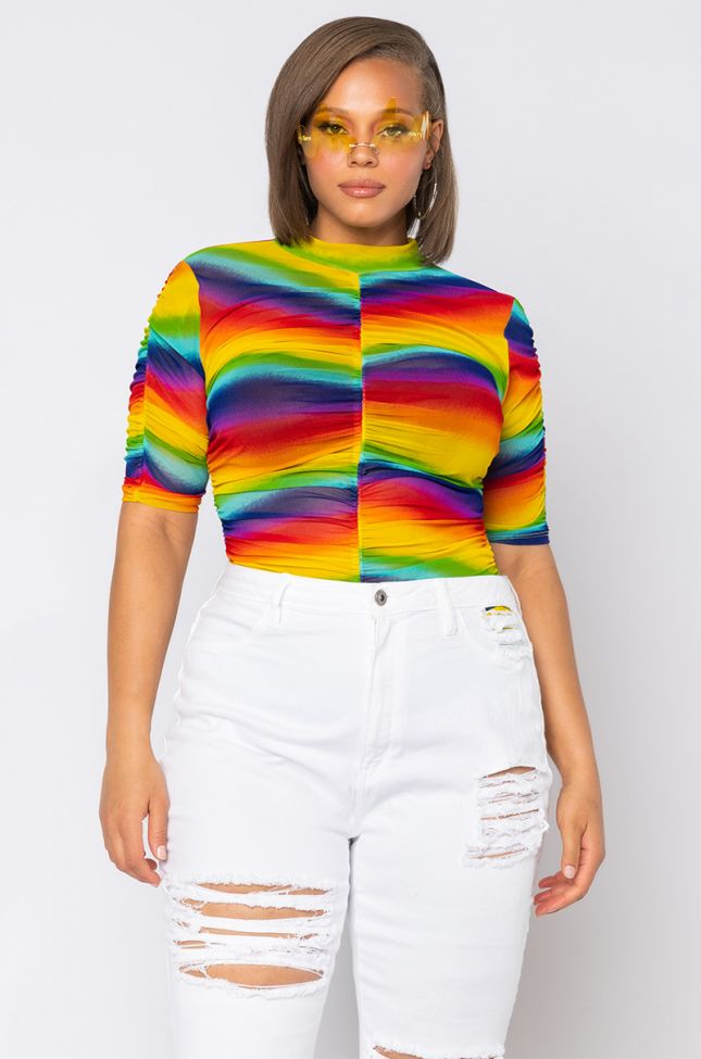 Front View Plus Stand Out Rainbow Bodysuit in Red Multi