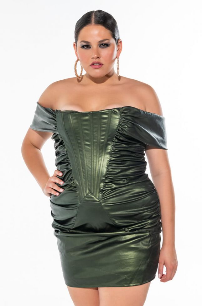 PLUS STAY WITH ME OFF THE SHOULDER FAUX LEATHER DRESS