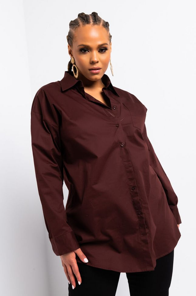 Front View Plus Step Into My Office Long Sleeve Button Down Shirt in Brown