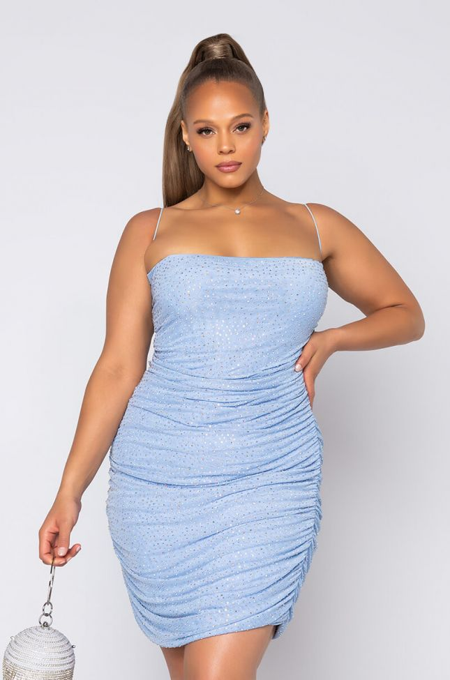 Front View Plus Steppin Out Like Sparkle Dress in Light Blue