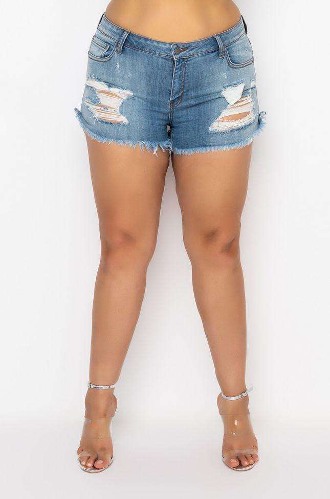 Front View Plus Summer Vibe Denim Shorts in Light Blue Denim