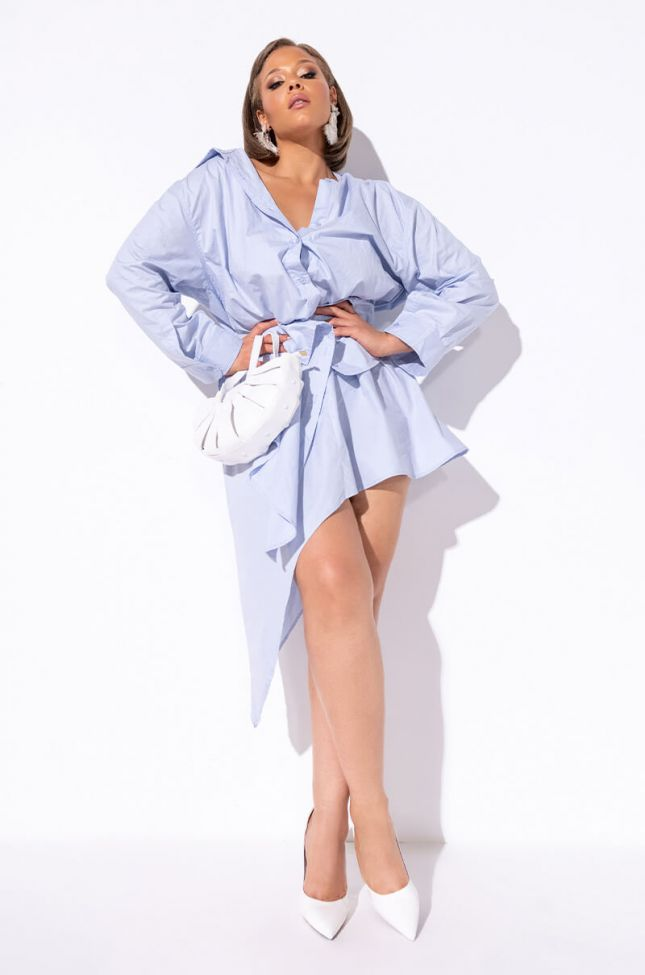 Plus Sweet To You Off The Shoulder Dress in Blue