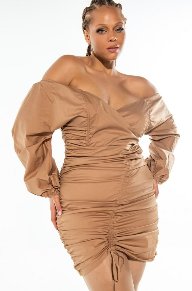 Front View Plus Sweetie Stretch Poplin Off The Shoulder Shirt Dress