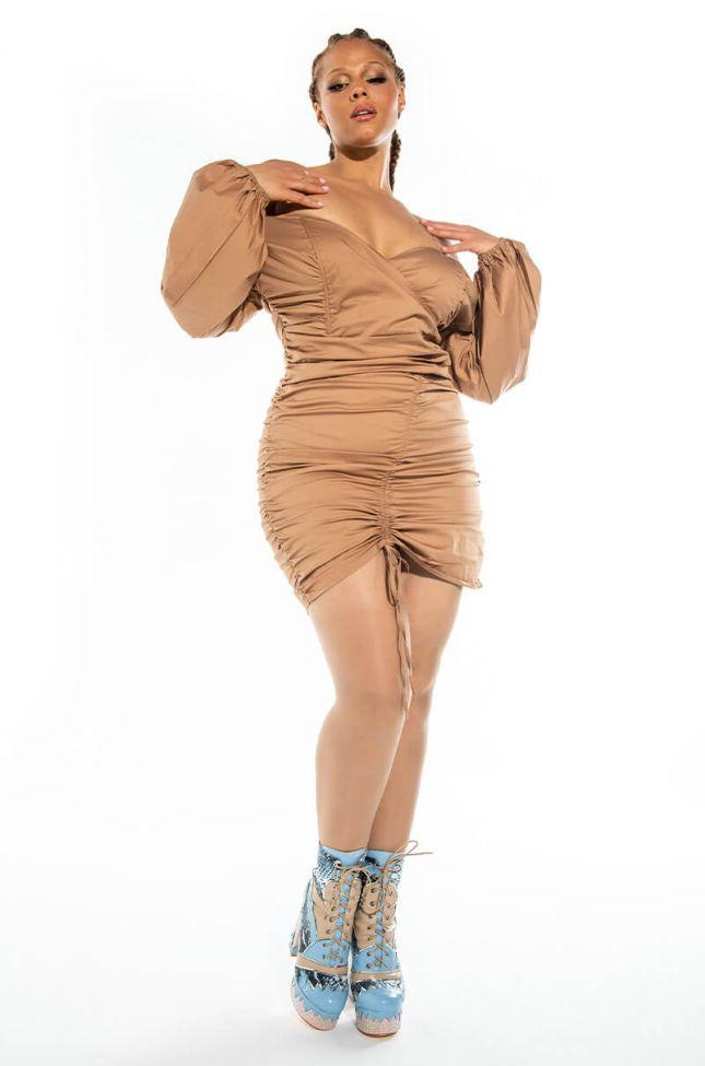 PLUS SWEETIE STRETCH POPLIN OFF THE SHOULDER SHIRT DRESS