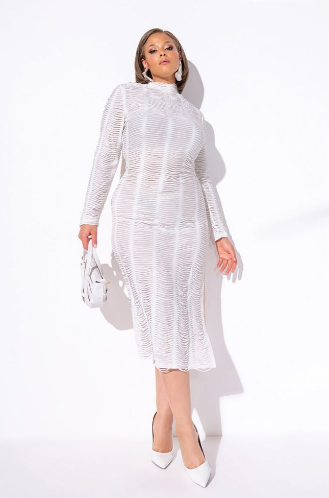Front View Plus Textured Fabric Mock Neck Midi Dress in White
