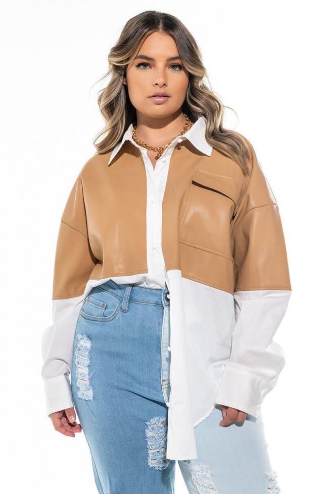 PLUS THE FEELING IS NEUTRAL FAUX LEATHER DETAIL TOP