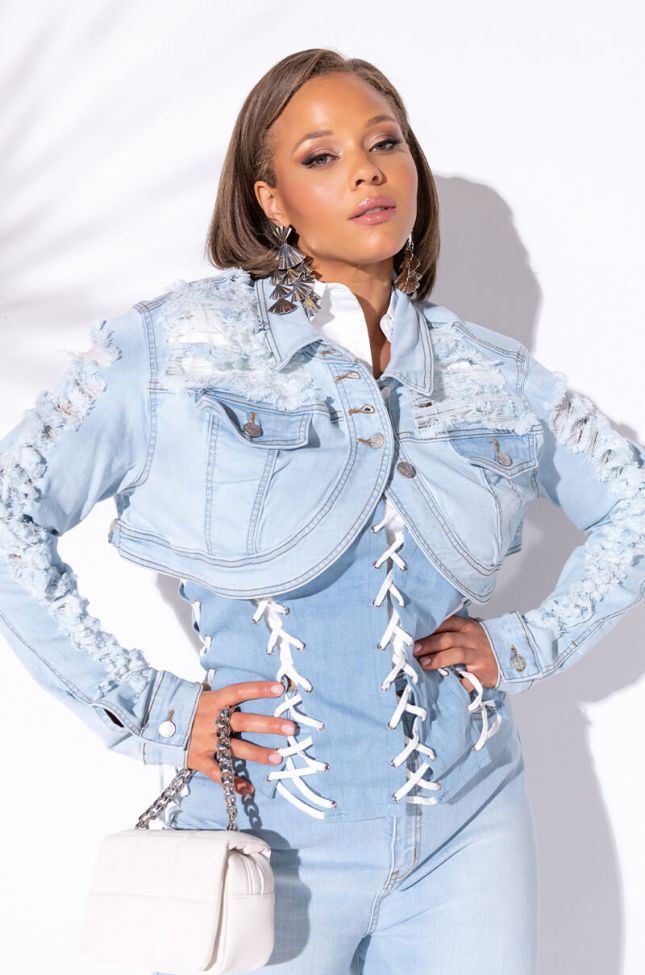 Front View Plus Ultra Cropped Distressed Denim Jacket in Light Blue Denim