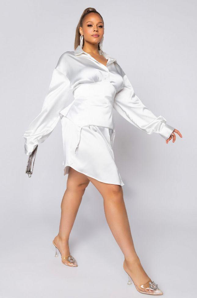 Plus Wavy Lil Bih Corset Button Up Mini Dress in White