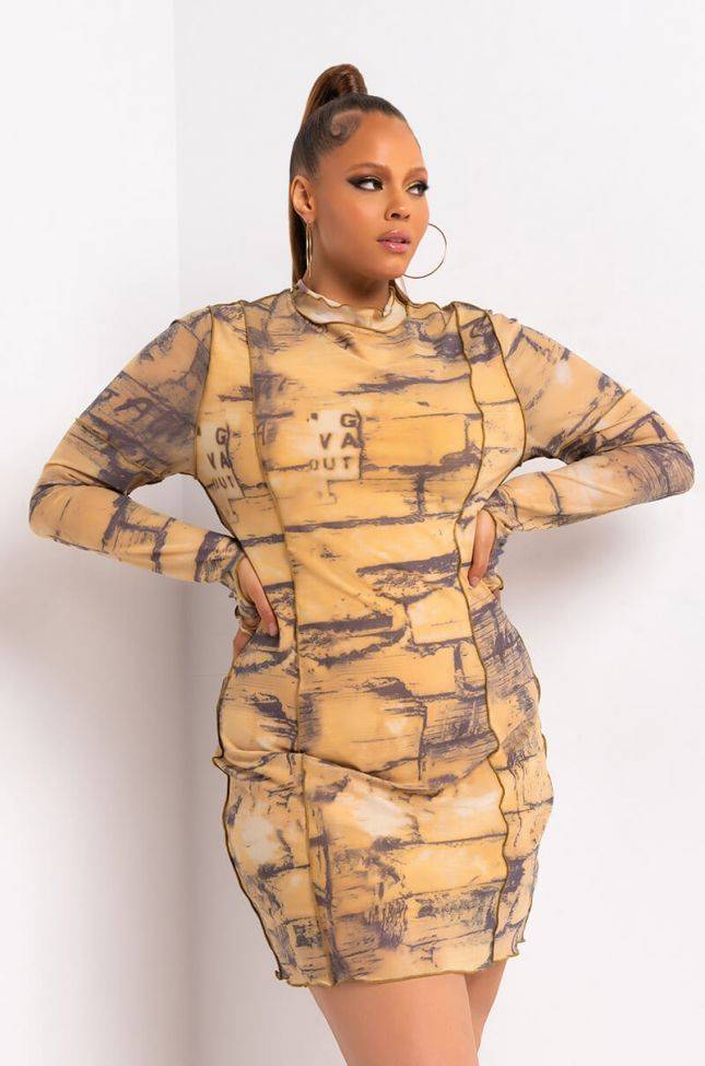 Front View Plus Writing On The Wall Mesh Dress With Thumb Holes in Yellow Multi