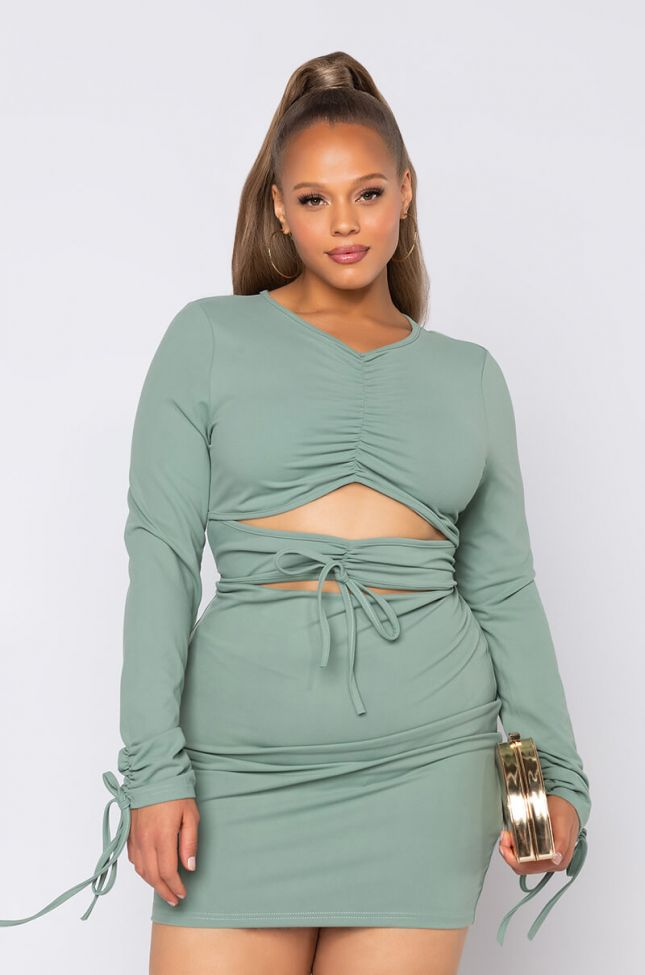 Front View Plus Your Distraction Long Sleeve Dress With Front Tie in Green