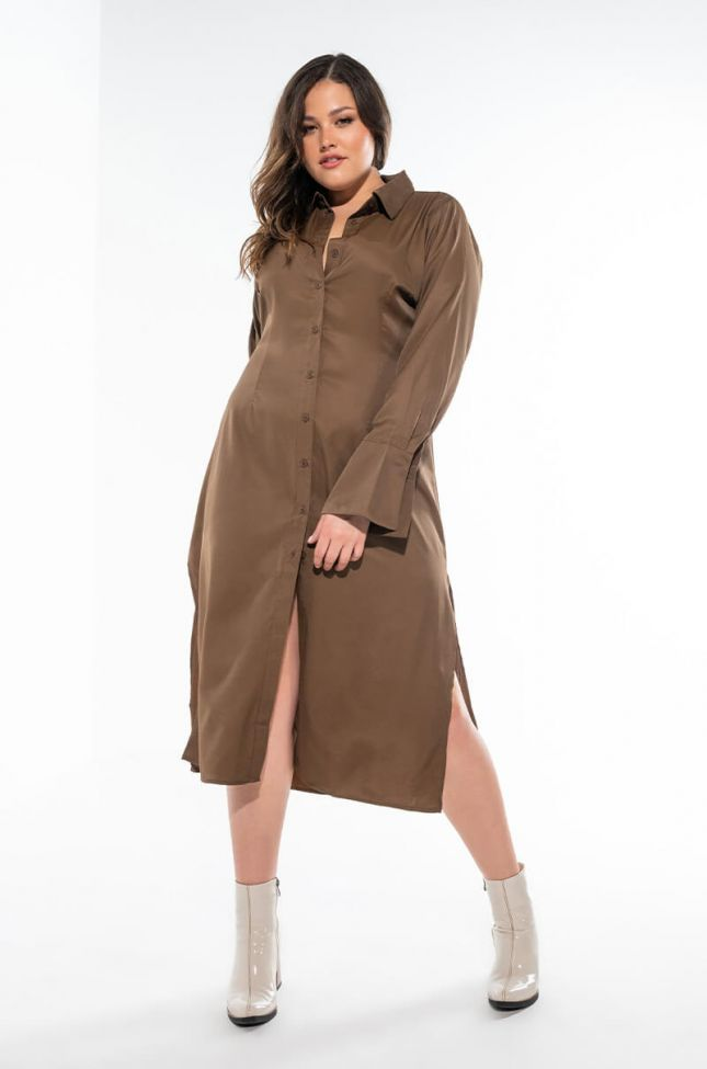 Extra View Plus Your Only Love Maxi Button Up Dress