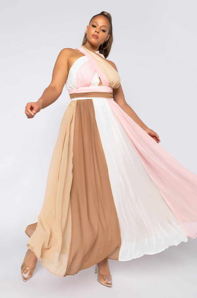 Front View Plus Yours Truly Maxi Halter Top Dress in Pink Multi