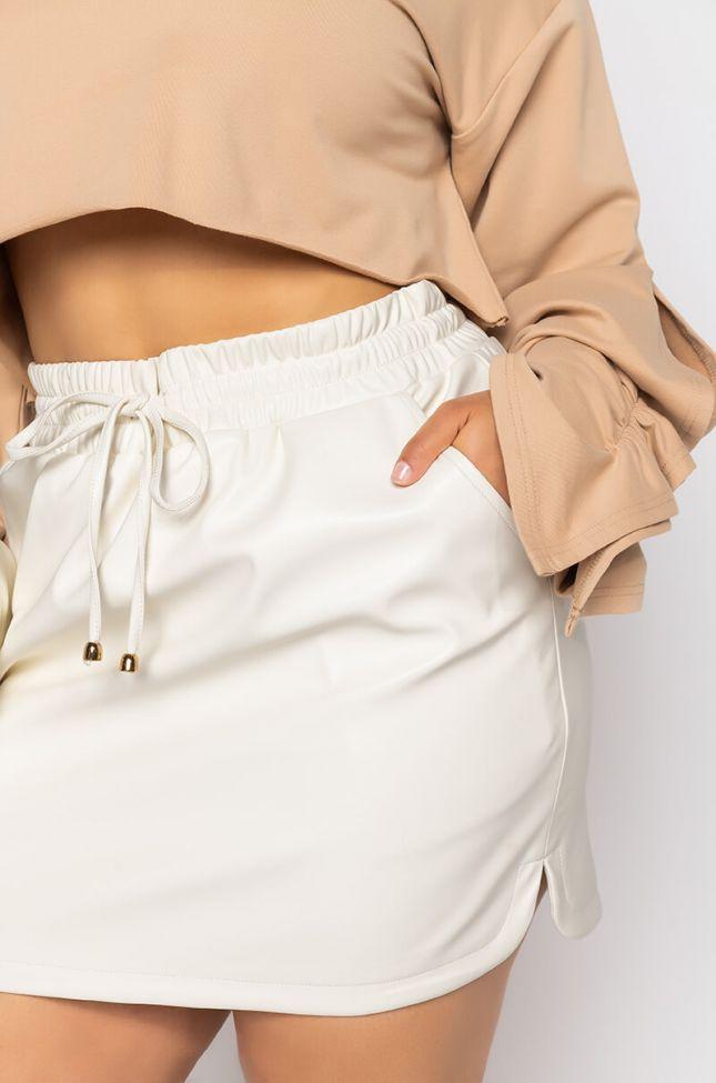 Detail View Plus Zaza Dolphin Faux Leather Mini Skirt in White
