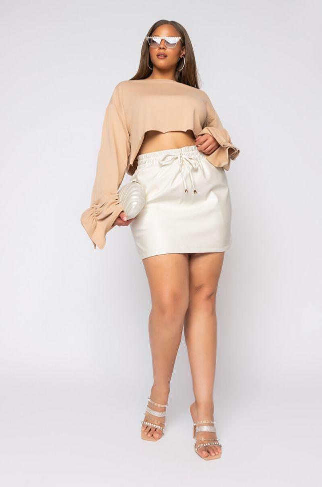 Plus Zaza Dolphin Faux Leather Mini Skirt in White