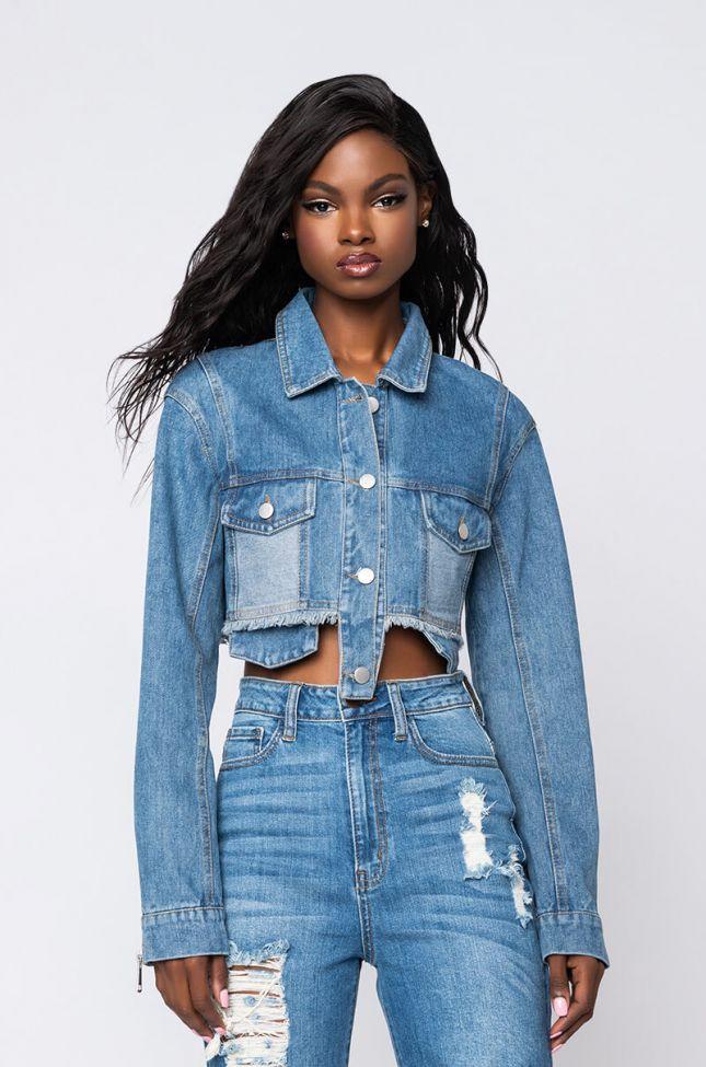 Side View Poket Full Of Sunshine Ultra Crop Denim Jacket in Medium Blue Denim