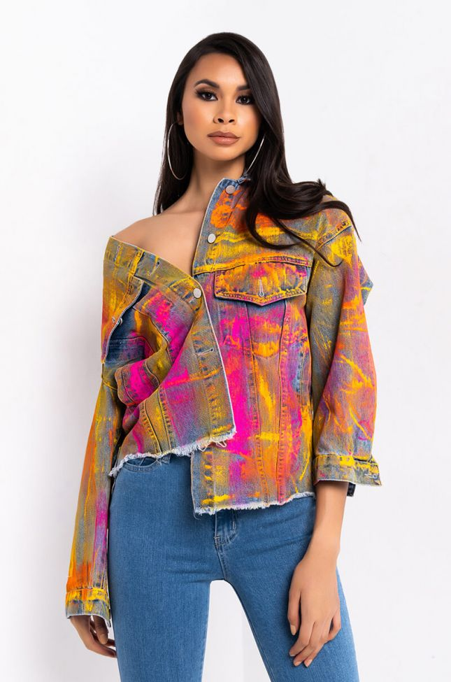 Front View Pollock Painted Oversized Denim Jacket in Blue Multi