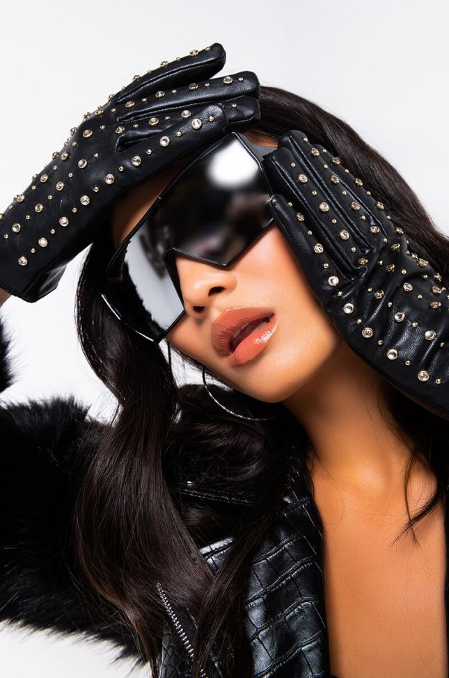Front View Pop Princess Rhinestone Studded Pleather Glove in Black