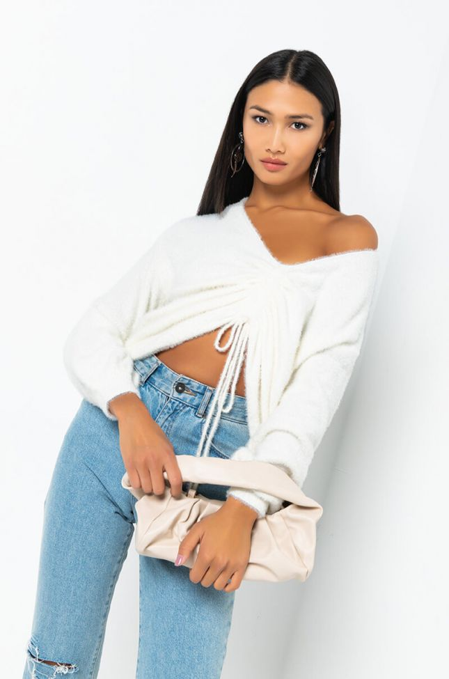 Side View Positive Attitude Long Sleeve Sweater in White