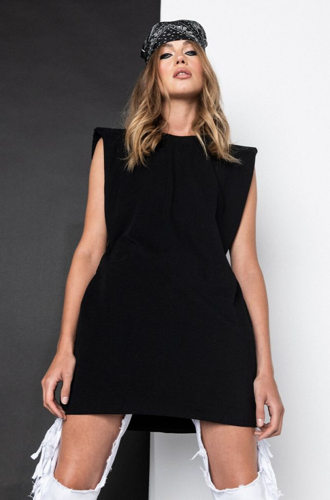 Front View Power Up Shoulder Detail T-shirt Dress in Black