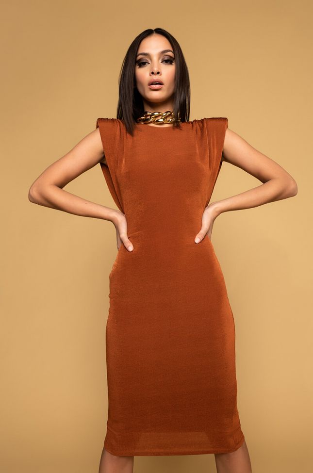 Front View Powerplay Shoulder Pad Ruched Midi Dress in Brown