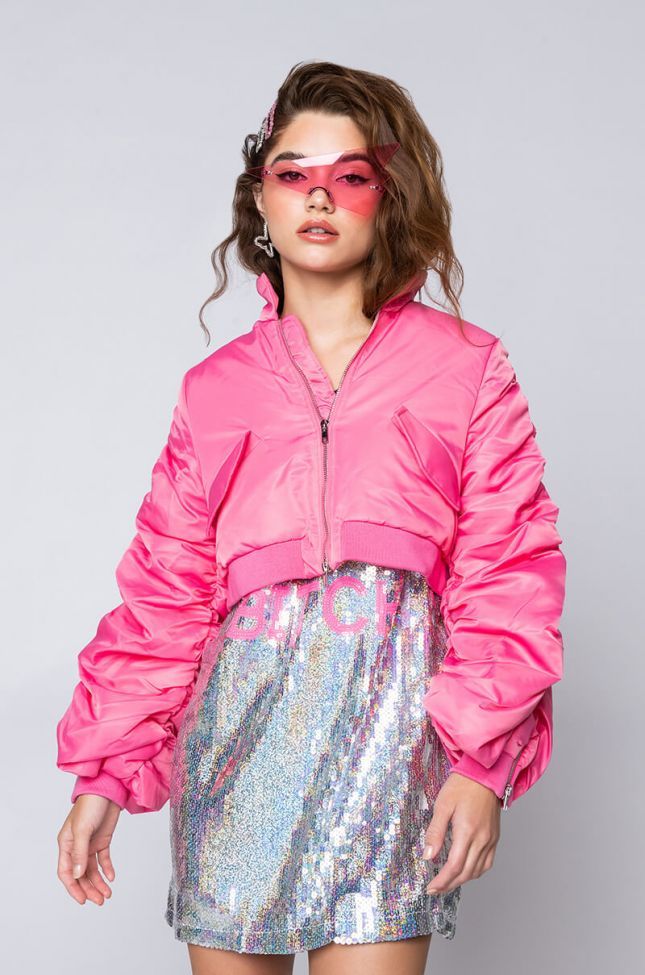 Back View Powerpuff Stacked Arm Bomber in Pink