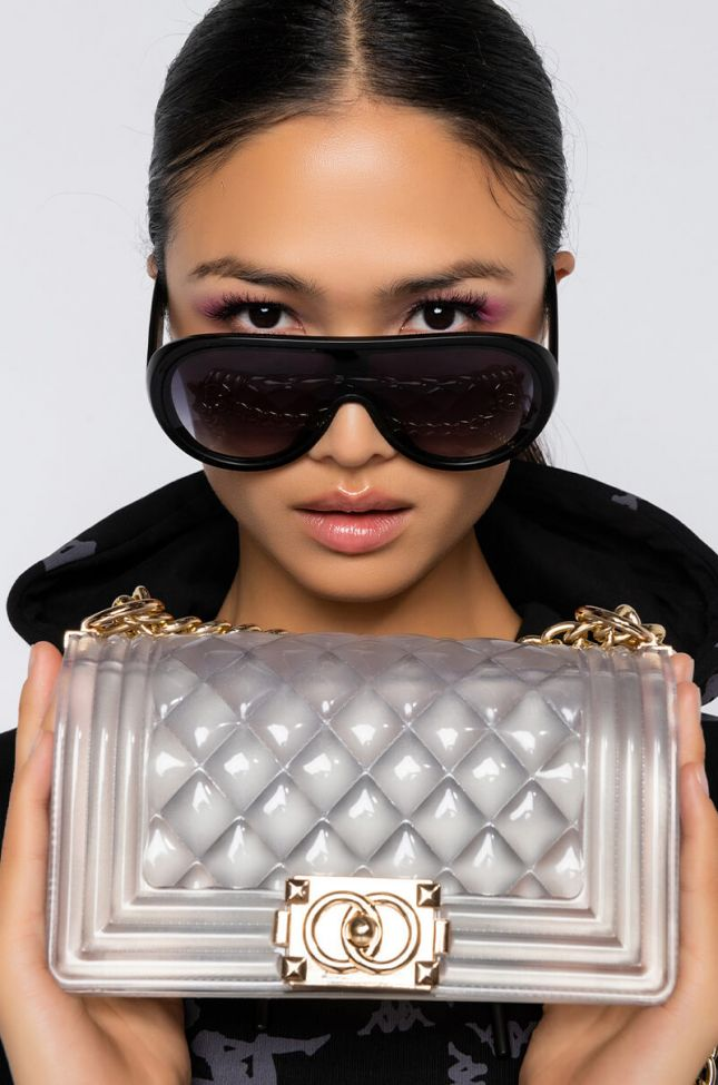 Front View Pretty Big Deal Quilted Rubber Purse in Clear