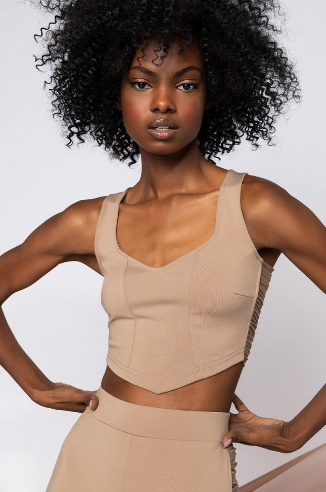 Front View Pretty Face Small Waist Ruched Crop Tank in Beige