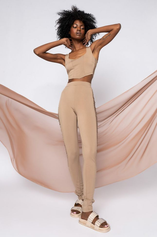 Full View Pretty Face Small Waist Ruched Skinny Trousers in Beige