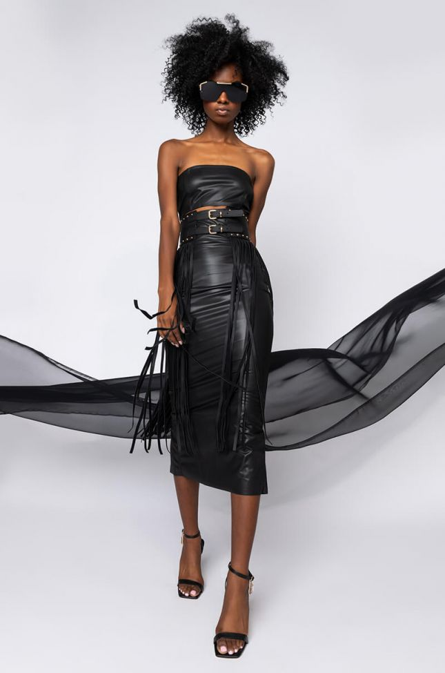 Full View Pretty Lady Pleather Midi Dress With Cut Out in Black