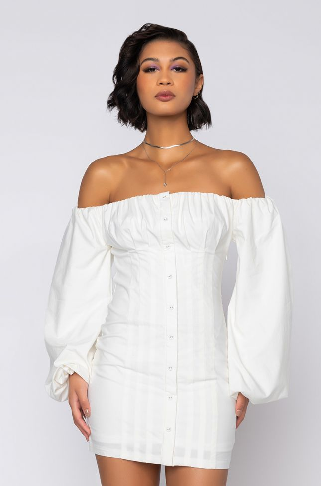 Front View Pretty Little Lady Off The Shoulder Dress With Puffy Sleeves in White