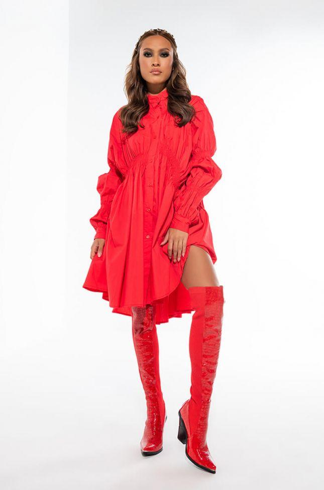 PRETTY ON ME BUTTON UP FASHION DRESS