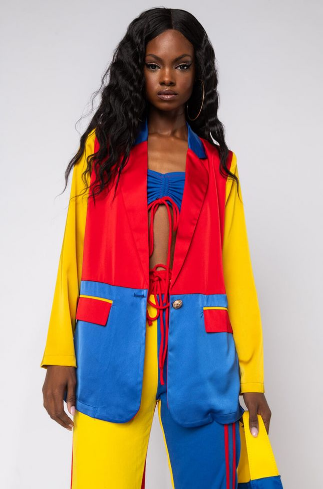 Front View Primary Color Block Blazer in Yellow Multi
