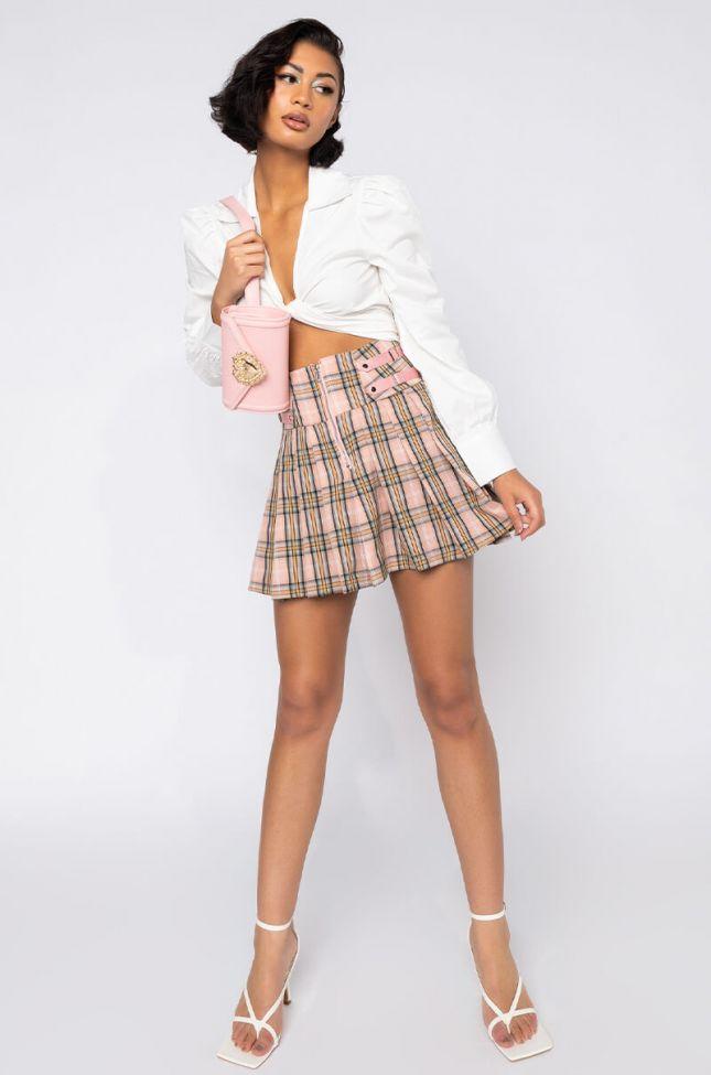 Full View Prime Plaid Mini Skirt in Pink