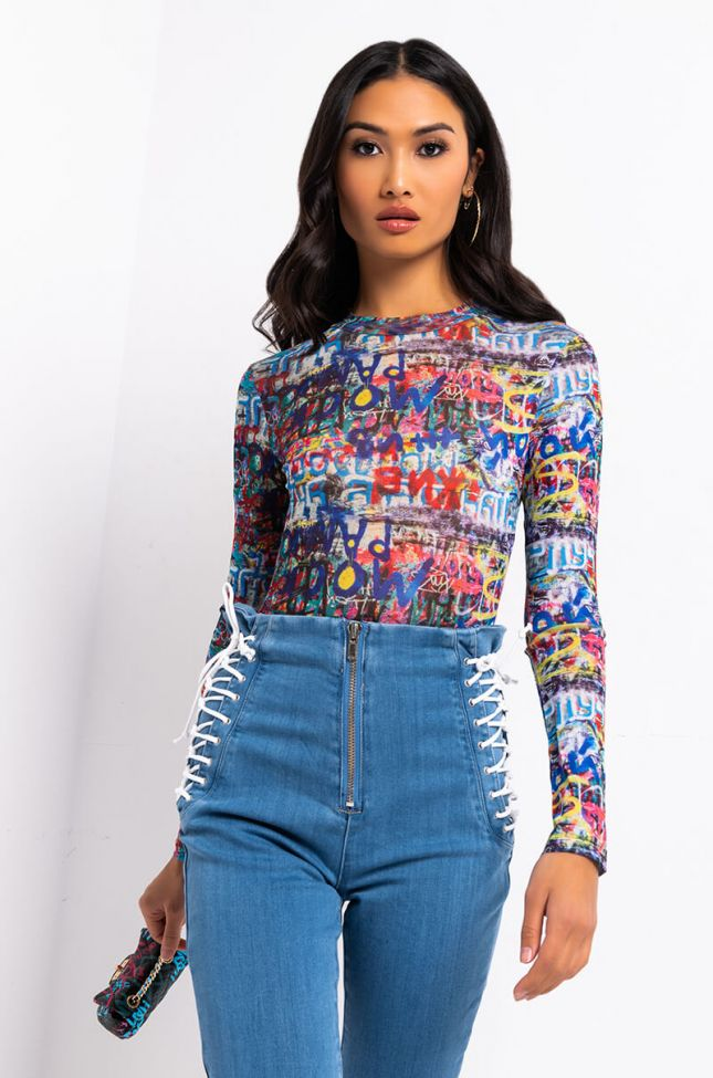 Front View Prints All Over Long Sleeve Mesh Bodysuit in Blue Multi