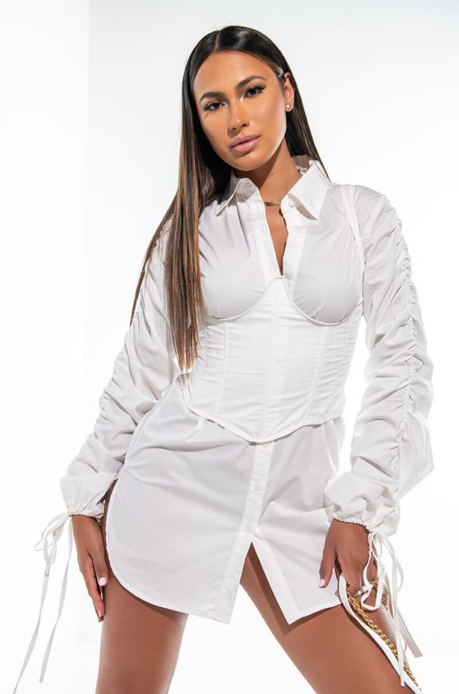 PROVE ME WRONG BUTTON UP DRESS WITH ATTACHED CORSET