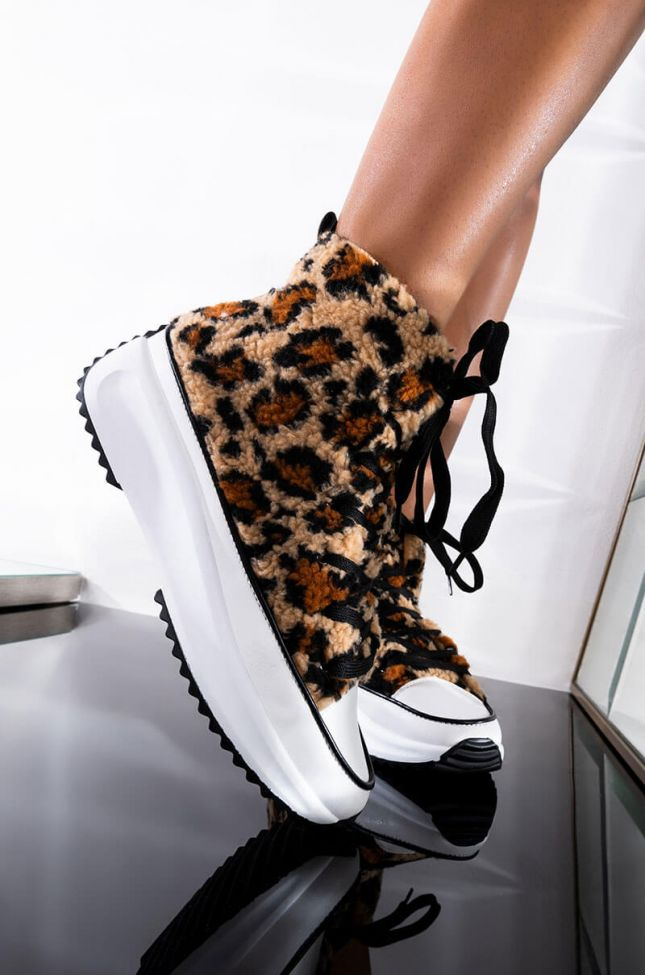 Front View Pull Me Closer Sneaker in Leopard