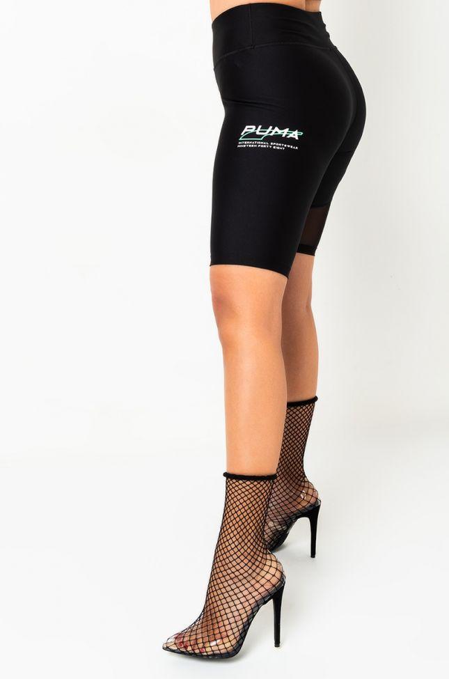 Side View Puma Evide High Waist Biker Shorts in Black
